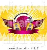 August 14th, 2015: Vector Clipart of a 3d Pink Winged Disco Ball with Headphones, Music Speakers and a Blank Ribbon Banner, on a Bursting Yellow Background with Equalizer Bars by Elaineitalia