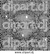 Vector Clipart of a 3d Platinum Disco Ball Spinning over a Shiny Background by Elaineitalia