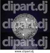 Vector Clipart of a 3d Platinum Silver Disco Ball Suspended over a Reflective Surface over a Black Background by Elaineitalia