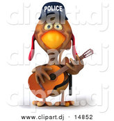 October 29th, 2015: Vector Clipart of a 3d Police Chicken Guitarist by Julos