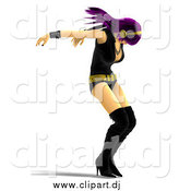 Vector Clipart of a 3d Purple Haired Rocker Chick Dancing by Ralf61