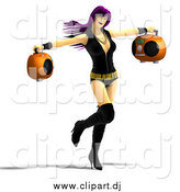Vector Clipart of a 3d Purple Haired Rocker Chick Holding Two Radios and Dancing by Ralf61
