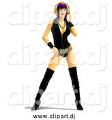 Vector Clipart of a 3d Purple Haired Rocker Chick Wearing Headphones by Ralf61