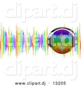 Vector Clipart of a 3d Rainbow Disco Ball Wearing Headphones over Colorful Sound Waves by Elaineitalia