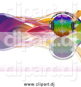 Vector Clipart of a 3d Rainbow Disco Ball with Headphones, on a Reflective Surface with Colorful Waves over White by Elaineitalia