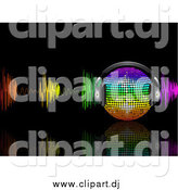 Vector Clipart of a 3d Rainbow Music Disco Ball with Headphones and Colorful Waves on Black by Elaineitalia