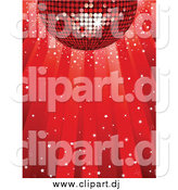 Vector Clipart of a 3d Red Disco Ball Reflecting Light While Spinning over a Red Background with Confetti by Elaineitalia