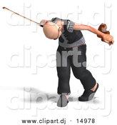 Vector Clipart of a 3d Senior Man Playing a Violin by Ralf61