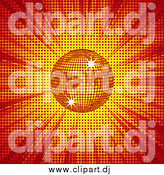 April 11th, 2015: Vector Clipart of a 3d Shining Orange Disco Ball over Red and Yellow Light and Halftone by Elaineitalia