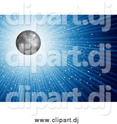 Vector Clipart of a 3d Silver Disco Ball and Blue Burst by KJ Pargeter
