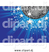 Vector Clipart of a 3d Silver Disco Ball with Stars on a Bursting Blue Background by Elaineitalia