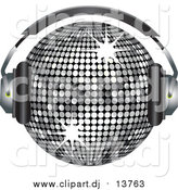 September 4th, 2015: Vector Clipart of a 3d Silver Sparkly Disco Ball Wearing Headphones by Elaineitalia