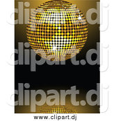 Vector Clipart of a 3d Sparkling Golden Mirror Disco Ball Spinning over a Reflective Background by Elaineitalia