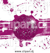 Vector Clipart of a 3d Sparkling Purple Disco Ball on Grunge Background with Drips and Splatters by Elaineitalia