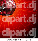 Vector Clipart of a 3d Sparkly Red Disco Ball over a Shining Background by Elaineitalia