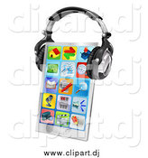 Vector Clipart of a 3d Touch Screen Smart Cell Phone with App Icons and Headphones by AtStockIllustration