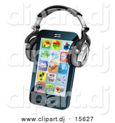 February 11th, 2016: Vector Clipart of a 3d Touch Screen Smart Phone with App Icons and Headphones by AtStockIllustration