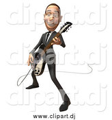 Vector Clipart of a 3d White Businessman Playing an Electric Guitar by Julos