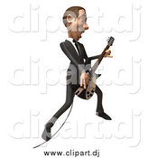 August 22nd, 2014: Vector Clipart of a 3d White Businessman Playing an Electric Guitar by Julos