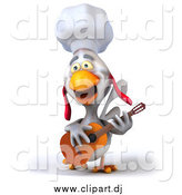 Vector Clipart of a 3d White Chef Chicken Playing a Guitar and Singing by Julos