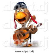 September 30th, 2014: Vector Clipart of a 3d White Police Chicken Guitarist by Julos