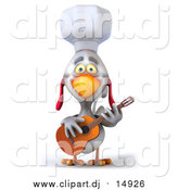 Vector Clipart of a 3d White Rooster Guitarist Chef by Julos