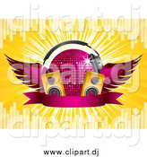 Vector Clipart of a 3d Winged Purple Disco Ball with Headphones, Speakers and a Banner by Elaineitalia