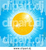 Vector Clipart of a 3d Yellow Disco Ball on a Blue Grunge Equalizer Bar Background by Elaineitalia
