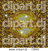 Vector Clipart of a 3d Yellow Mirror Disco Ball Spinning over a Golden Background by Elaineitalia