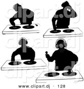 Vector Clipart of a 4 Unique DJ Silhouettes with Dual Record Turntables - Digital Collage by Dero