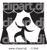 Vector Clipart of a Actor on a Stage - Black and White Version by Alexia Lougiaki