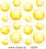 Vector Clipart of a Background of Gold Disco Balls and Ribbons by Inkgraphics