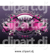 Vector Clipart of a Background of Guitars, Keyboards, Speakers, Banners and a 3d Winged Pink Disco Ball by Elena