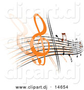 Vector Clipart of a Background of Staff and Music Notes by Vector Tradition SM