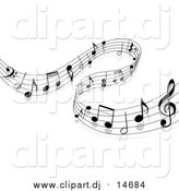 September 25th, 2015: Vector Clipart of a Background of Staff and Music Notes by Vector Tradition SM