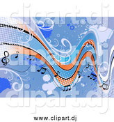 May 17th, 2015: Vector Clipart of a Background of Staff and Music Notes with Grunge by Vector Tradition SM