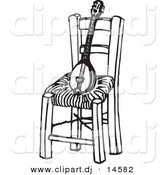 Vector Clipart of a Baglamas Instrument on Wood Chair - Black and White Sketch Art by Any Vector