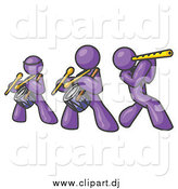 Vector Clipart of a Band of Purple Men Playing Flutes and Drums at a Music Concert by Leo Blanchette