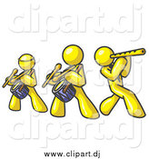 Vector Clipart of a Band of Yellow Men Playing Flutes and Drums at a Music Concert by Leo Blanchette
