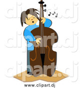 Vector Clipart of a Bass Player by Bpearth