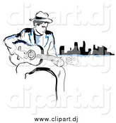 Vector Clipart of a Black and Blue Man Playing a Guitar near a City by TA Images