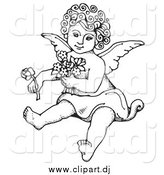 Vector Clipart of a Black and White Cherub Sitting on the Ground, Holding Flowers in One Arm and a Rose out in One Hand by C Charley-Franzwa