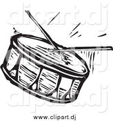 Vector Clipart of a Black and White Drum and Sticks by Xunantunich