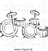 Vector Clipart of a Black and White Drum Set by Vector Tradition SM