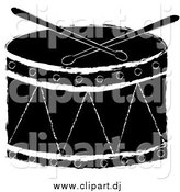 August 3rd, 2015: Vector Clipart of a Black and White Drum with Drumsticks by Pams Clipart