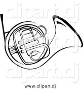 Vector Clipart of a Black and White French Horn by Vector Tradition SM