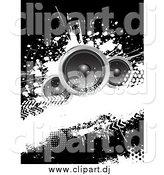 Vector Clipart of a Black and White Grungy Music Background with Three Speakers by KJ Pargeter