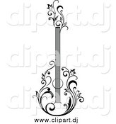 Vector Clipart of a Black and White Guitar with Vines by Vector Tradition SM