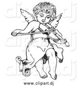 Vector Clipart of a Black and White Innocent Cherub with Curly Hair, Flying and Playing a Violin by C Charley-Franzwa