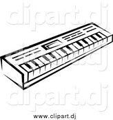 Vector Clipart of a Black and White Keyboard by Vector Tradition SM